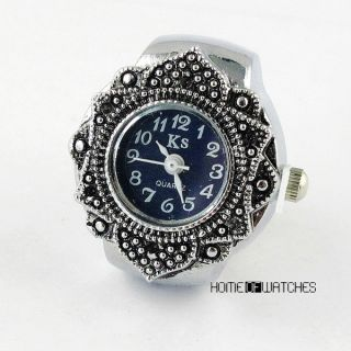 Pretty Flower Style Women Lady Stretchy Finger Ring Watch Quartz