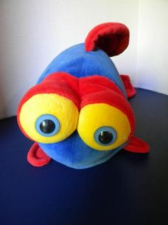 Plush Stuffed Huge FISH Blue Red Silly 3D Eyes Big Lips & Dots Funny