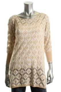 Famous Catalog Moda New Beige Crochet Ribbed Trim Crewneck Pullover