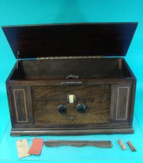 Montgomery Wards Antique Tube Radio Battery Farm Set Fancy Wood