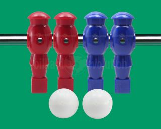 Red Blue Foosball Men and 2 Smooth Table Soccer Balls
