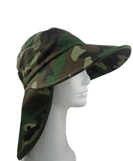 Fishing Summer Hat with Long Neck 4 Brim Army Camo