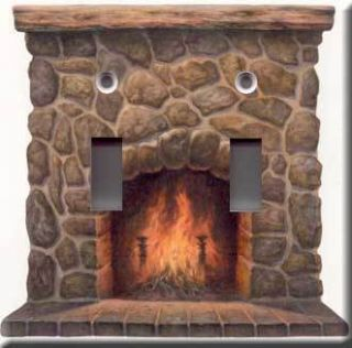 Fireplace Accent Double Light Switch Plate Cover