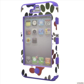 Dog Footprint Rugged Purple Silicone Case Cover for Apple iPhone 4 4S