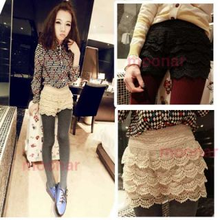 Japan Korea Fashion Arrivel Full Tiered Short Lace Flower Pantskirt