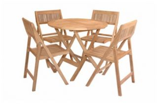 Solid Teak Patio Bistro Set Folding Furniture 4 Chairs