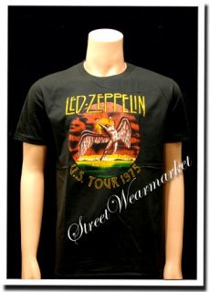 LED Zeppelin US Tour 1975 Folk Rock Band T Shirt Sz M