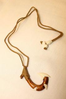 Hawaiian Jewelry Fish Hook Carved Choker Necklace Koa Wood w Bone