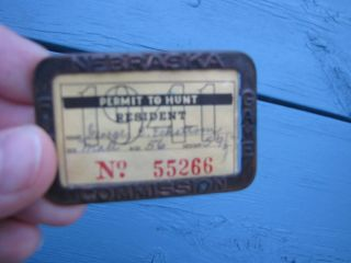 Vintage 1941 1940s Hunting Fishing License Holder Nebraska Game Fish