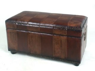 Faux Leather Bench Trunk for Storage Mixed Patchwork