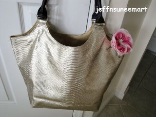 Metallic Gold Faux Snakeskin Tote Purse Bag Large with Tag