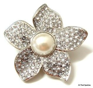 Large Fashion Cocktail Flower Crystal Faux Pearl Stretch Ring