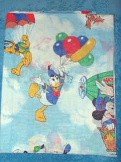 Vintage Disney Twin Flat Sheet Fabric Pluto Dumbo Donald Duck Mickey