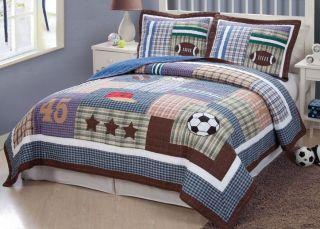 Sports Football Field Soccer Boys Blue Twin Full Queen Quilt Bedding