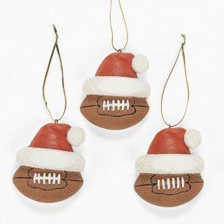 Football Pigskin Christmas Tree Ornaments w Santa Hat
