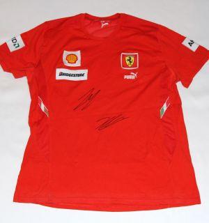 Felipe Massa Kimi Räikkönen Autographed Ferrari F1 Team T Shirt with