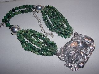 FOREE Sterling Silver Lg Asian Dragon Pendant w Chunky Green Bead