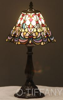 Tiffany Style Stained Glass Table Lamp Fleur De Lis w/ Metal Base