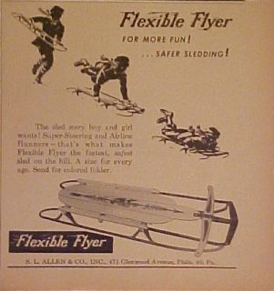 1948 Flexible Flyer Winter Snow Sled Flexy Racer Eagle Airline Junior