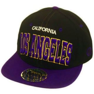 Hat Cap Gorra Snapback Los Angeles California Flat Bill Black Purple