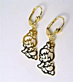 Earrings Gold 18K GF Pebbles Flintstone Filigree Dangle Flat Vintage
