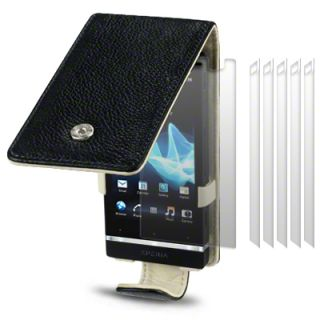 Terrapin Genuine Leather Flip Case for Sony Xperia U + 6 PC LCD Guard