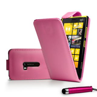 Hotpink Flip Leather Case Cover for Nokia 920 Lumia 920 Film Stylus