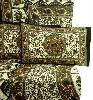 Handmade Bed Sheet Cotton Full Size Bed Cover Beige Flat Sheet India 3