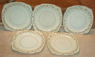 Paden City Pottery DUCHESS Pattern   5 Square Salad Plates 1953 Pink