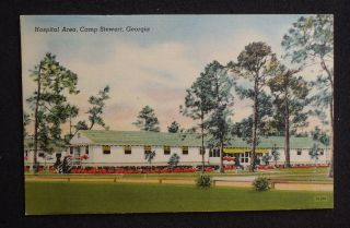 1940s Hospital Area Camp Army Fort Stewart GA Tattnall Co Postcard