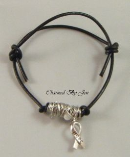 New Mens Brain Cancer Awareness Wire Wrapped Hope Black Leather