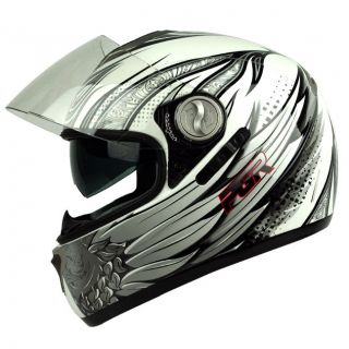PGR DV100 Thor White Silver Dual Visor Dot Approved Motorcycle Full