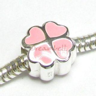 Silver Pink Four Leaf Clover Heart European Bead Charm