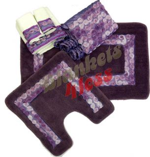 Purple 18 pc Bathroom Set Floral Ribbon Bath Rugs Shower Curtain Towel