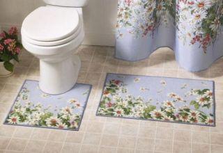 Daisy Meadow Flower Floral Blue Bathroom Rug Mat Set Bath Towel