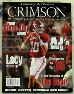 Alabama Crimson Tide 2012 Football Game Day Guide AJ McCarron Lacy