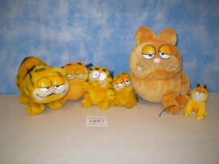Lot of 6 Garfield The Cat Plush Toys Collectors Items
