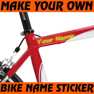 Custom Made Bike Frame Stickers 3 4 Decal Your Text