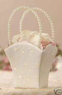 Embroidered Wedding Flower Girl Basket Pearl Handle