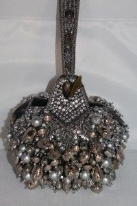 Mary Frances Silver Mercury Rising Beaded Handbag Purse Wristlet