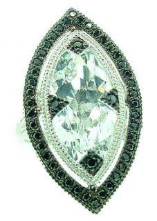 JUDE FRANCES WHITE TOPAZ BLACK DIAMOND RING