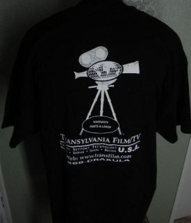transylvania movie camera co film crew shirt xxl