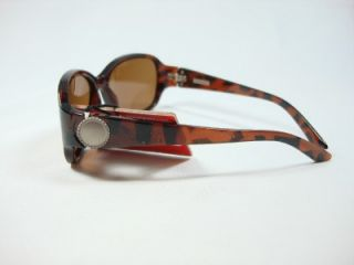 Foster Grant Brown Polarzed Sunglasses Zebra Design Metal Studs