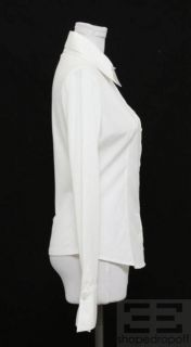 Anne Fontaine White Button Front Long Sleeve Blouse Size 38