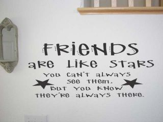 Friends Are Like Stars Wall Art Quote Decal Lettering Home Decor Sign