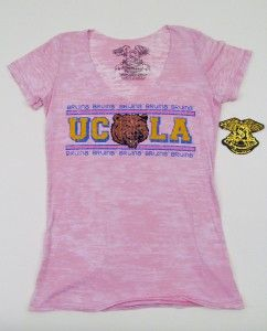NWT UCLA BRUINS College Football Burnout T shirt Pink Distressed Style