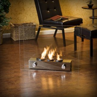 Portable Fireplace Indoor Outdoor Gel Fuel Glass FA5867