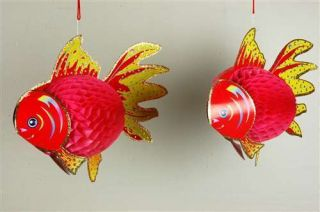 Paper Pink Fish Decoration 2 PK Tropical Party Supplies