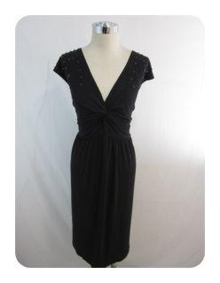 New KSL Karin Stevens Black Beaded Jersey Twist Front A Line Dress 20W