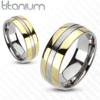 Titanium 2 Tone Gold IP Edges Comfort Fit Wedding Band Ring
